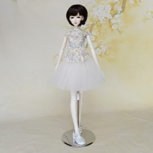 Light Yellow Floral Chinese Doll Cheongsam And Doll Tutu